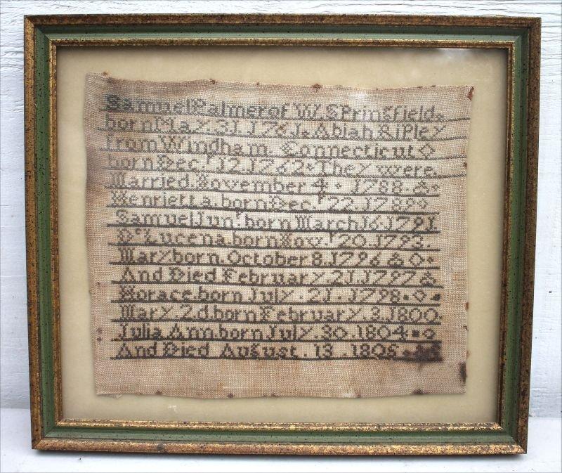 very rare 18thC MA/CT needlework family record silk on
