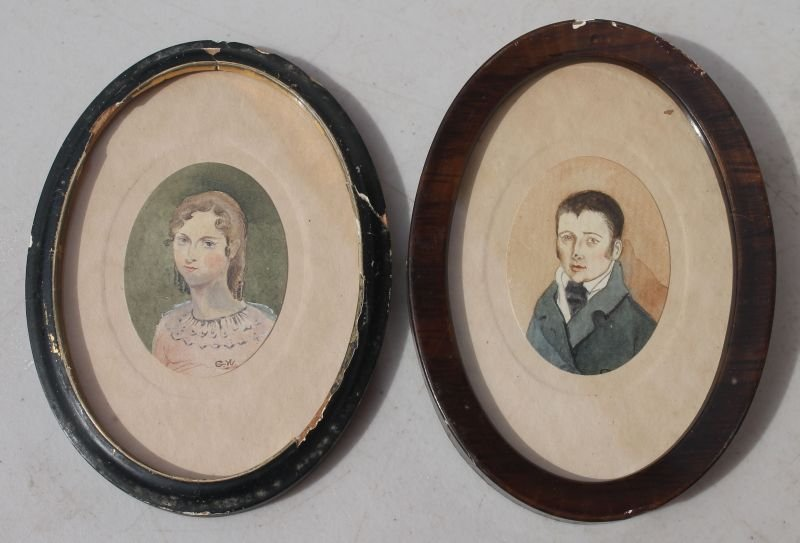pr of mid 19thC probably husband & wife pr of miniature