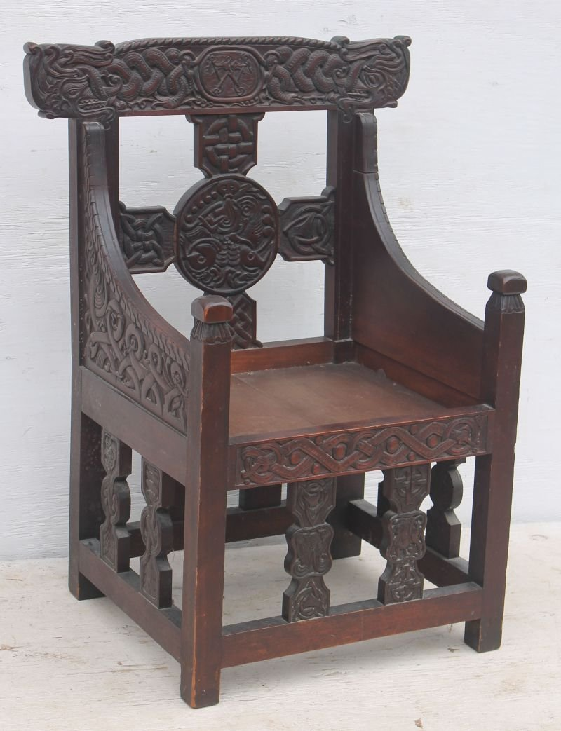 Exceptional carved late 19th/early 20thC Craftsman