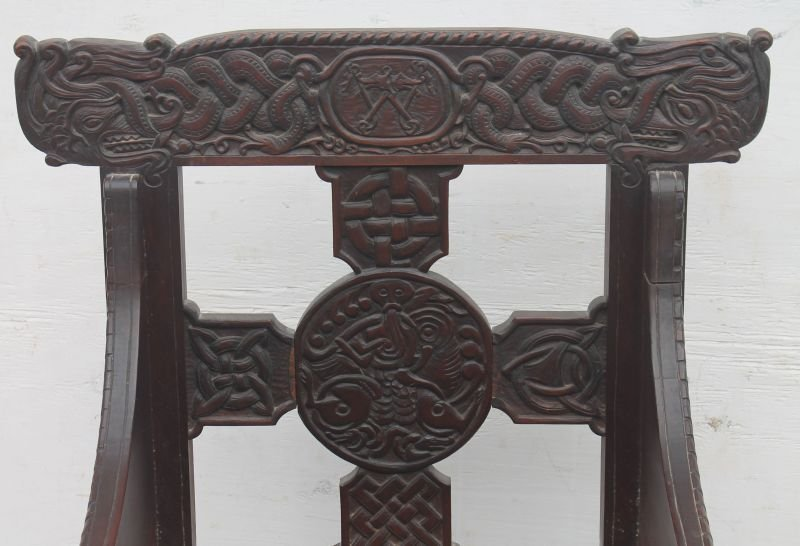 Exceptional carved late 19th/early 20thC Craftsman - 2