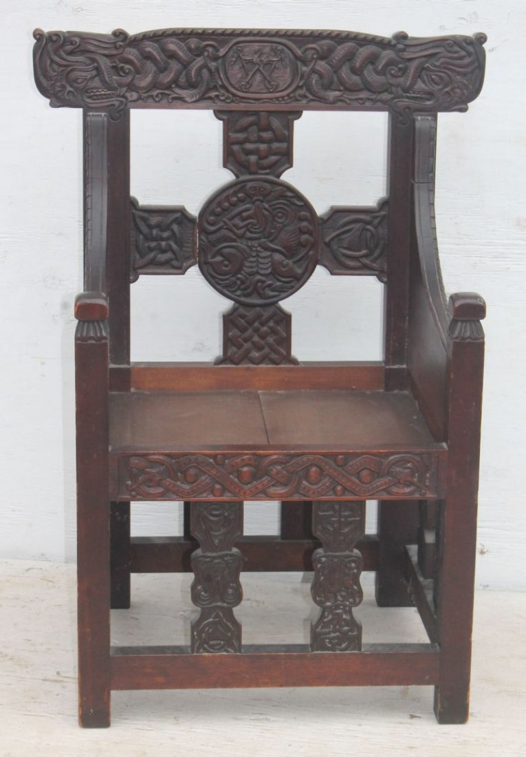 Exceptional carved late 19th/early 20thC Craftsman - 3