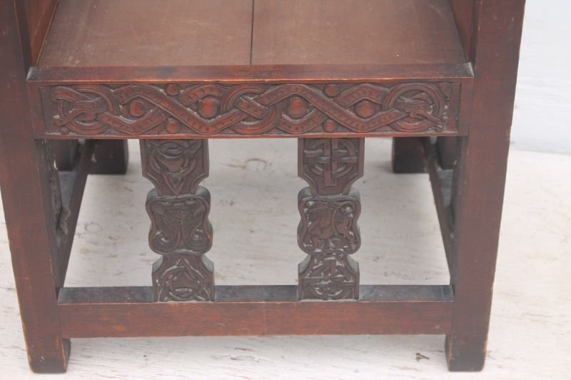 Exceptional carved late 19th/early 20thC Craftsman - 4