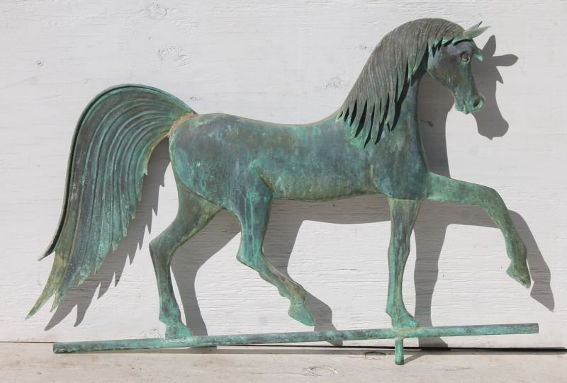 2nd quarter 20thC very folky copper horse weathervane w