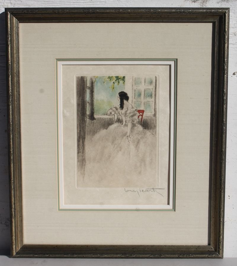 "Louis Icart etching ""Camille at The Window"" 9 1/2"" x 7"""