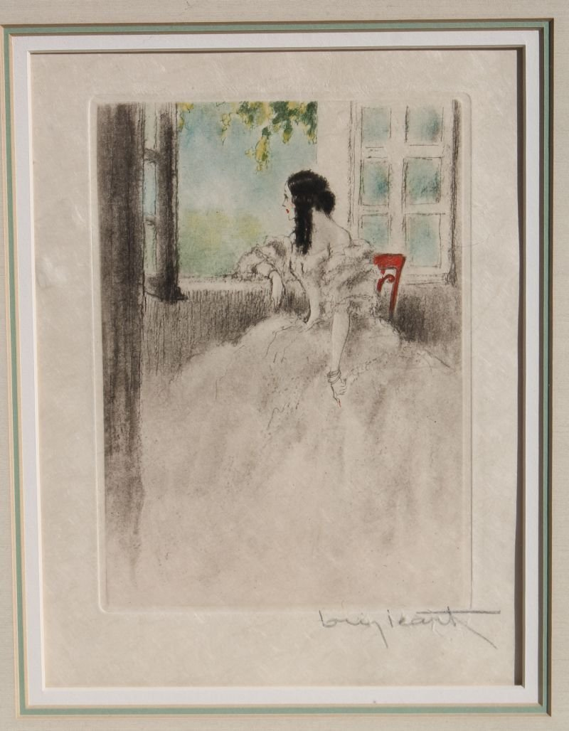 "Louis Icart etching ""Camille at The Window"" 9 1/2"" x 7"" - 4"