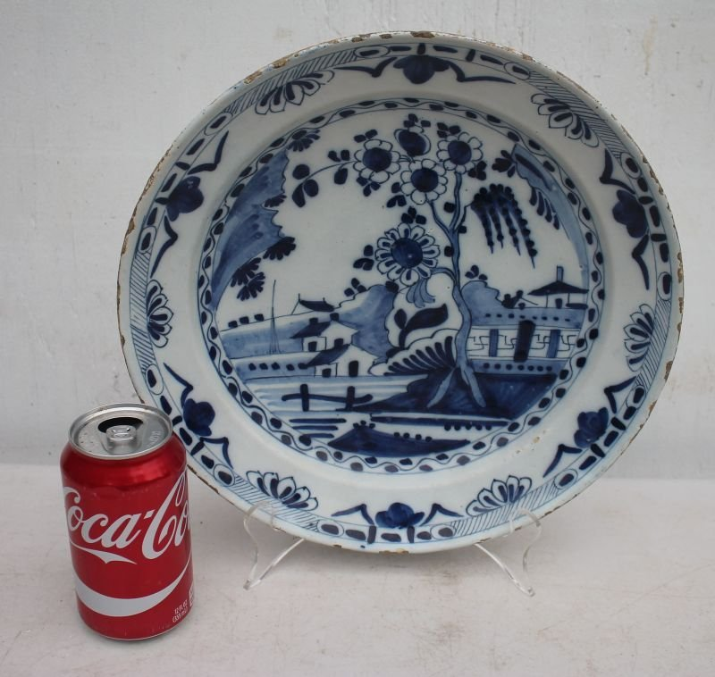 "18thC Dutch Delft blue & white deep dish - 12"" diam x - 3"