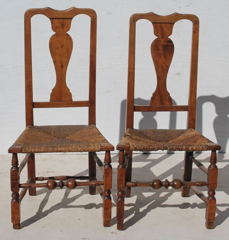 pr of 18thC period QA maple & tiger maple sidechairs w