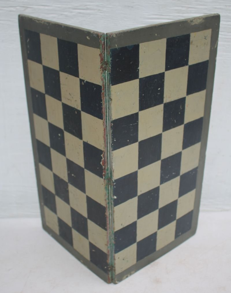 late 19thC New England pine great folding Parcheesi & - 2