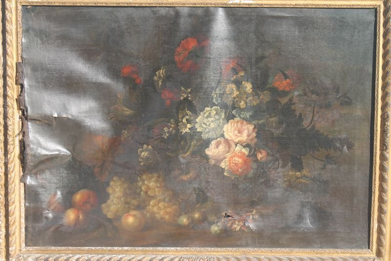 "as found Old Master 35""x48"" o/c very colorful still - 6"