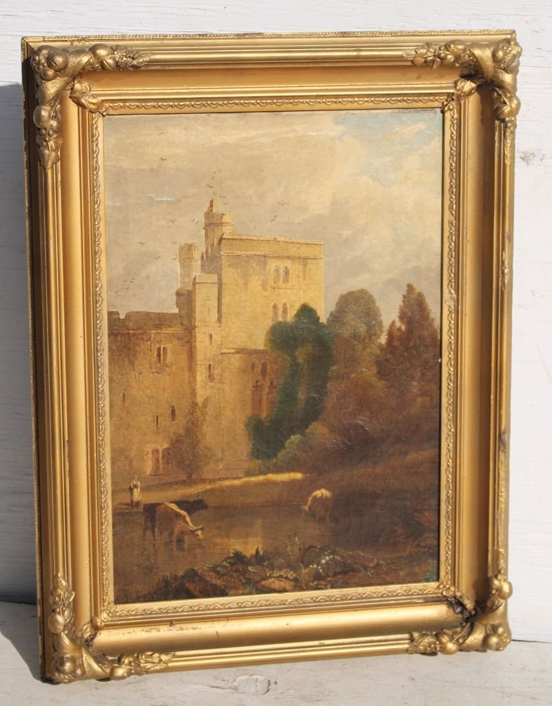 "19thC 14""x20"" o/c landscape depicting castle ground w"