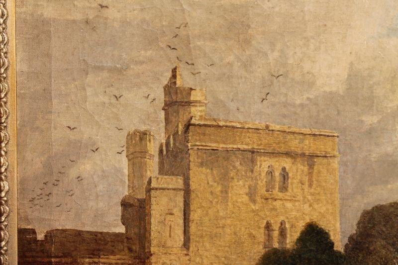 "19thC 14""x20"" o/c landscape depicting castle ground w - 4"