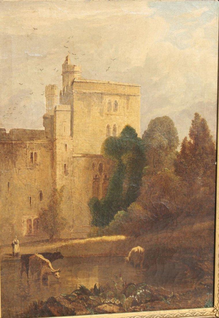 "19thC 14""x20"" o/c landscape depicting castle ground w - 5"