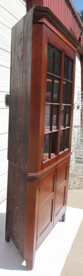 19thC large bracket base corner cabinet w orig old - 2