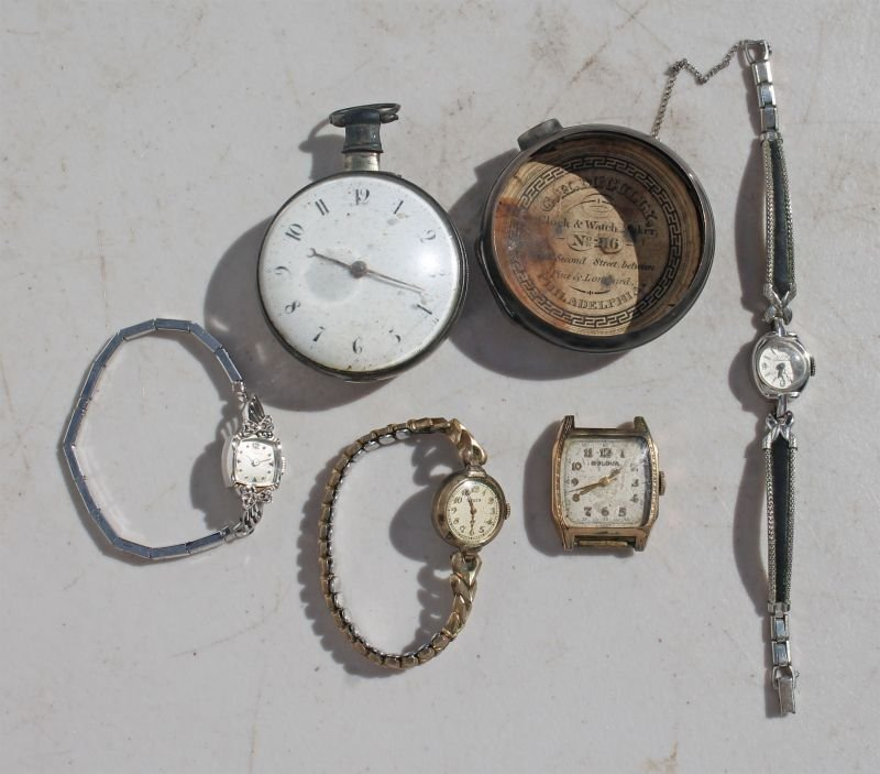 box lot of 5 watches - one 14k, one 10k & two gold