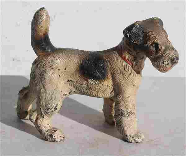 Rare small cast iron terrier dog doorstop in orig paint