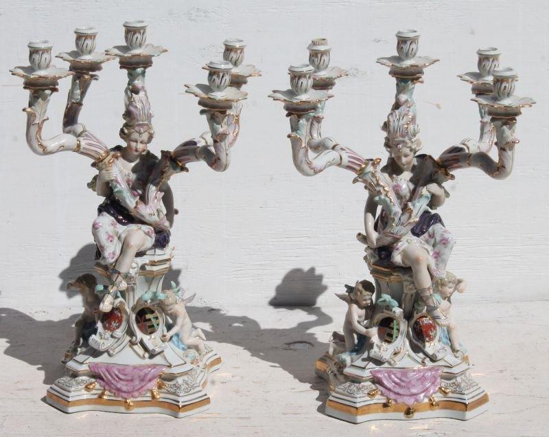 Wonderful pr of 5 socle figural hand painted porcelain