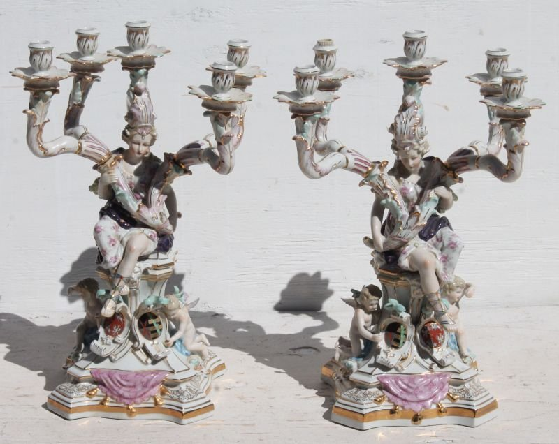 Wonderful pr of 5 socle figural hand painted porcelain