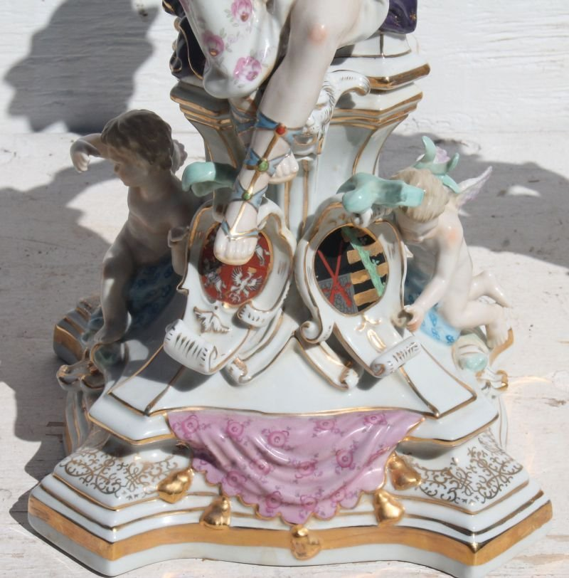 Wonderful pr of 5 socle figural hand painted porcelain - 2