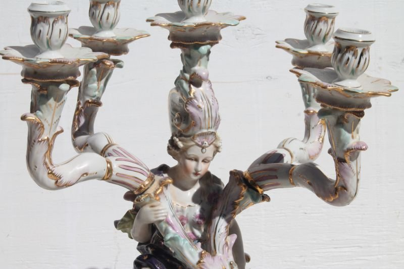 Wonderful pr of 5 socle figural hand painted porcelain - 3