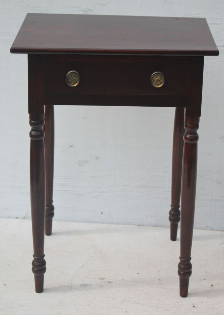 Early 19thC Sheraton mahog 1 drawer stand w turned legs - 2