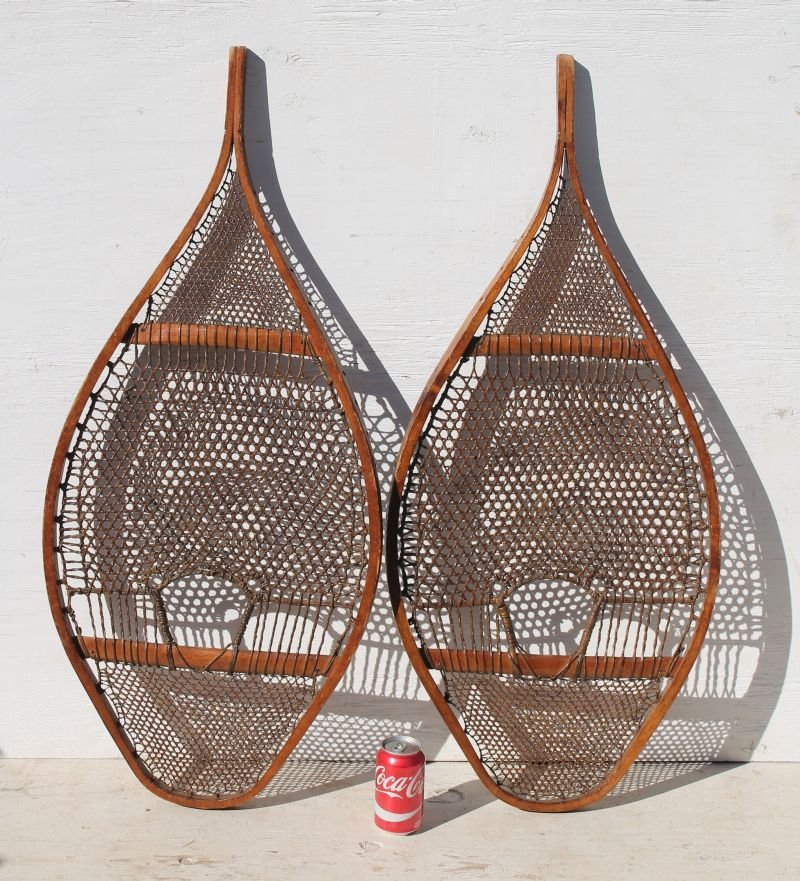 "pr of very lg ca 1910 snowshoes - 41"" long x 18"" wide - 2"