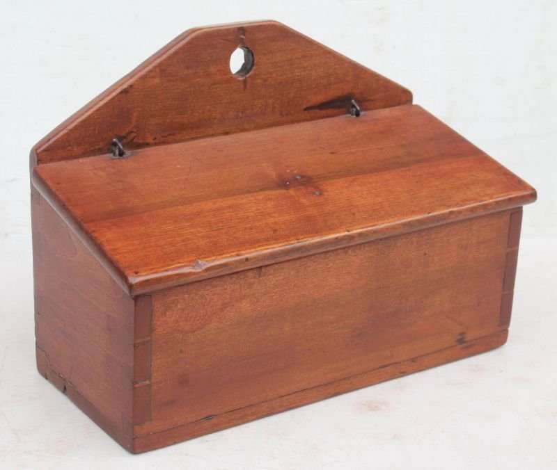 ca 1800 CT cherry dovetailed wall hanging candle box w