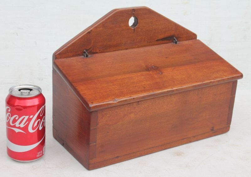 ca 1800 CT cherry dovetailed wall hanging candle box w - 2
