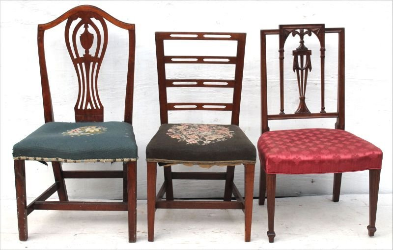 lot of 3 period Federal sidechairs all ca 1790 incl a
