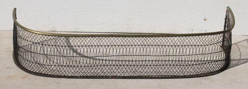 "ca 1820 fine brass & wire period fire fender - 41"" long"
