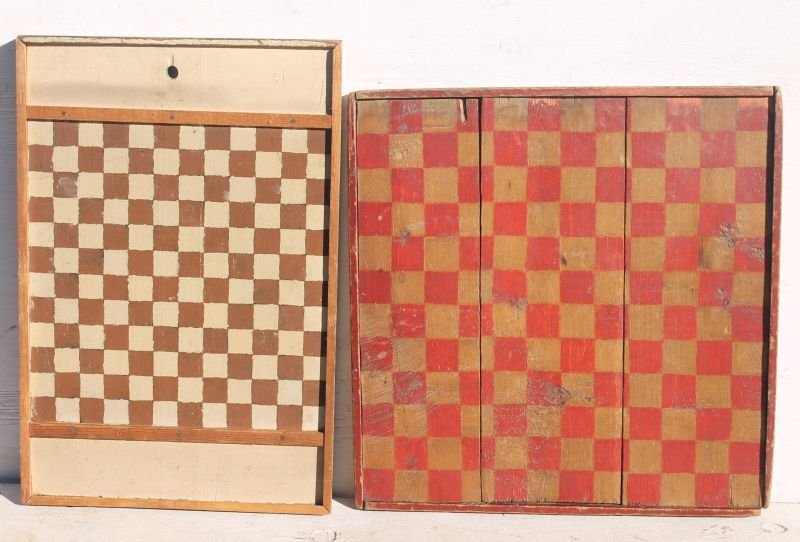 "lot of 2 antique checkerboards - one 25"" square w red &"