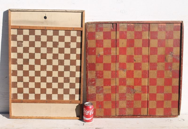 "lot of 2 antique checkerboards - one 25"" square w red & - 2"