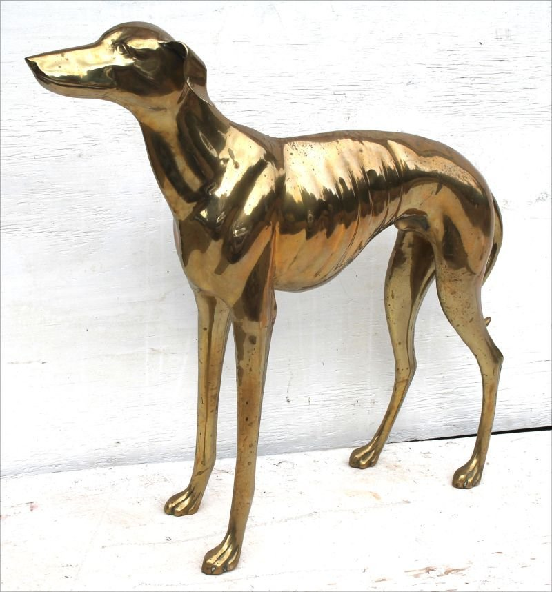 """Nearly life size brass whippet sculpture - 28 1/2"""" tall"""