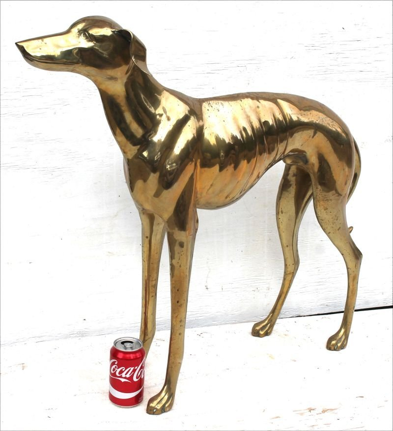 """Nearly life size brass whippet sculpture - 28 1/2"""" tall - 2"""