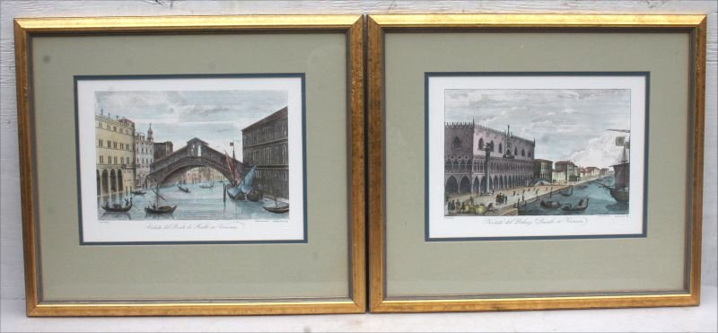 2 hand colored Venetian prints of etchings w blind