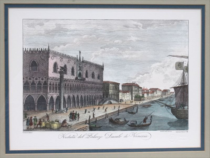 2 hand colored Venetian prints of etchings w blind - 2