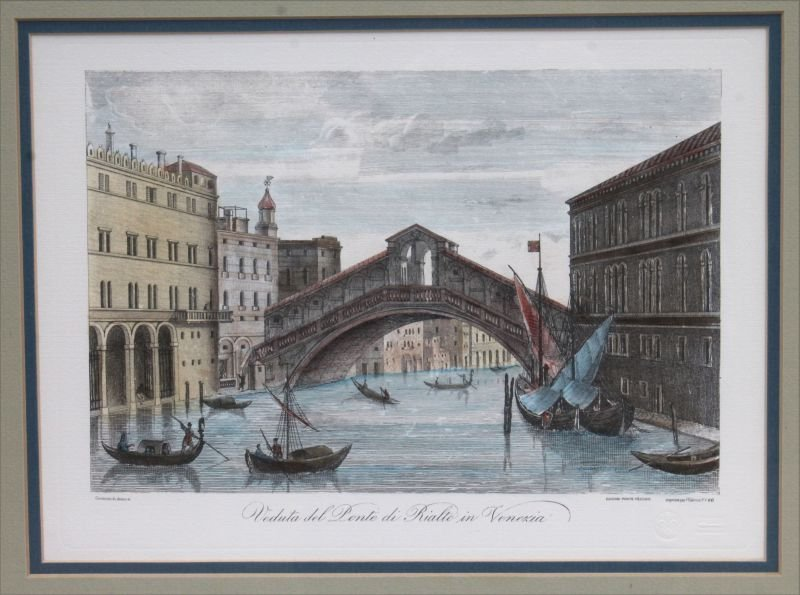 2 hand colored Venetian prints of etchings w blind - 3