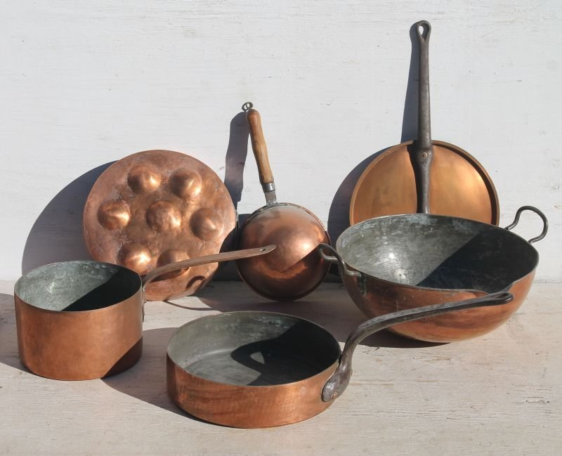 5 pieces of antique copper cookware w iron &/or wooden