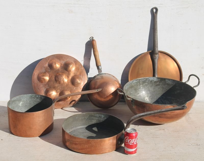 5 pieces of antique copper cookware w iron &/or wooden - 2