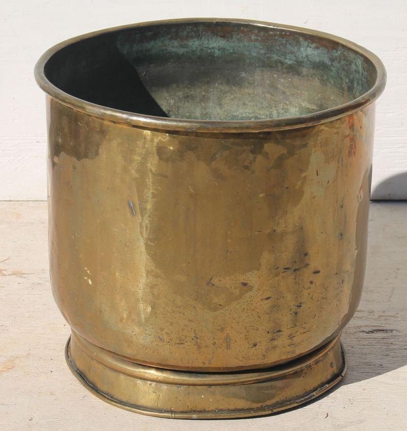 """antique Vict era brass planter's pot - 15 1/2"""" tall x"""