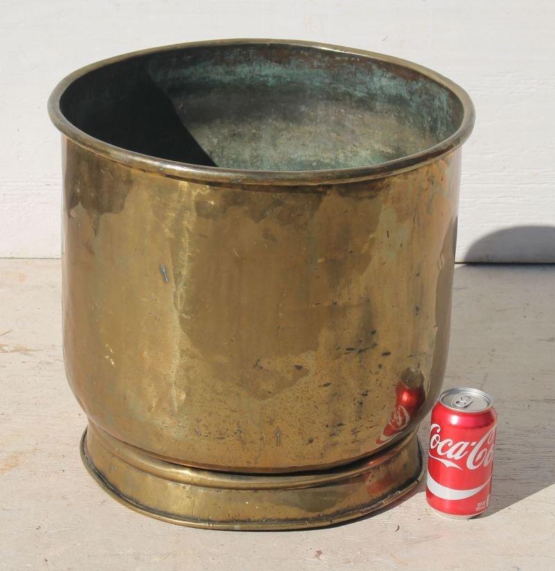 """antique Vict era brass planter's pot - 15 1/2"""" tall x - 2"""