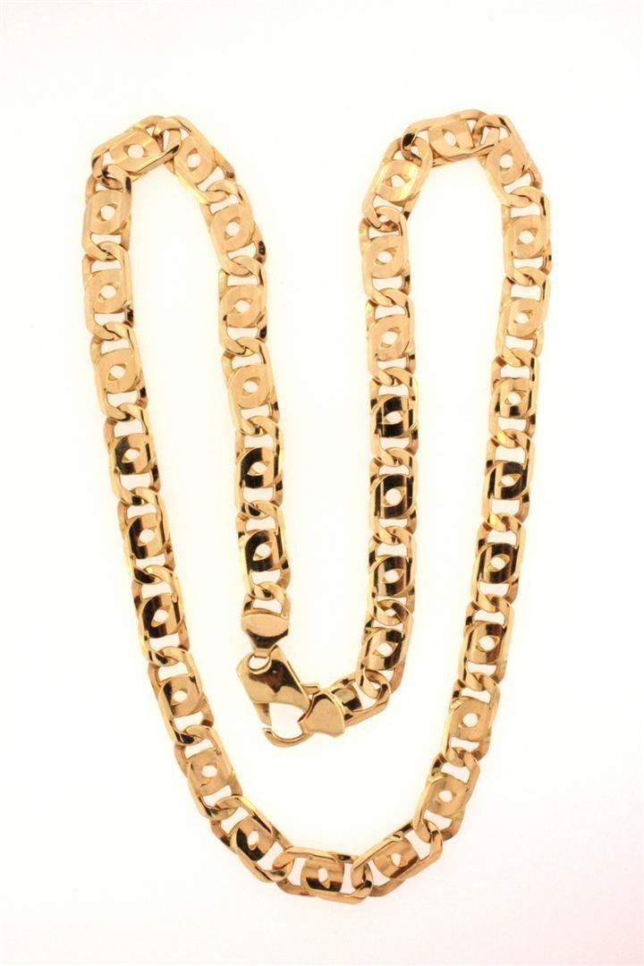9: CHAIN: Men's 14ky fancy twin curb link chain necklac