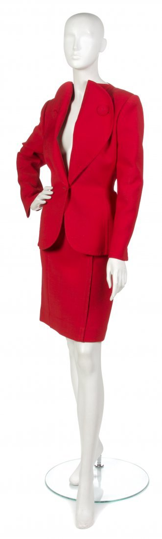 5: 5: A Pauline Trigere Red Ultra Dry Skirt Suit.