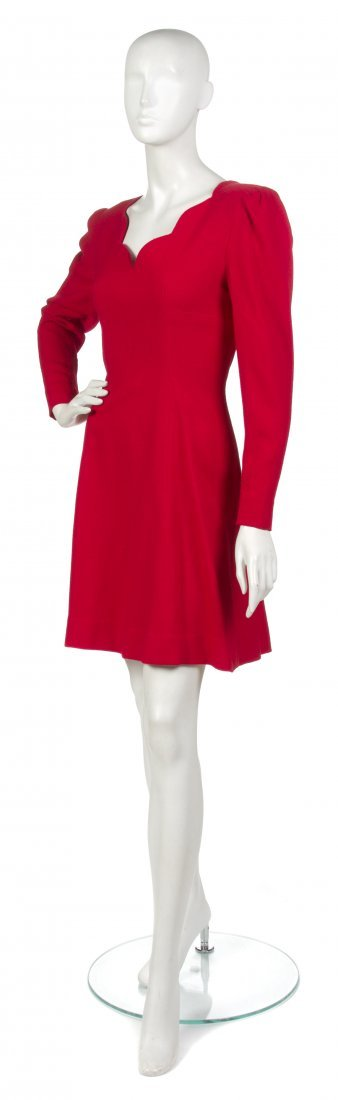 20: 20: A Pauline Trigere Red Wool Crepe Dress,