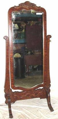 1: 1880's Oak Carved Chevel Mirror