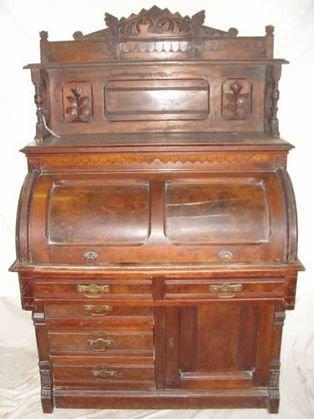 5: 1870's Walnut Cylinder Roll Desk