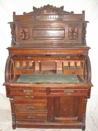 6: 1870's Walnut Cylinder Roll Desk