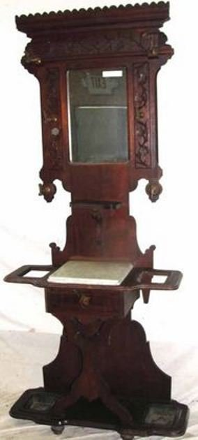 9: 1880's Walnut Marble Top Hall Stand