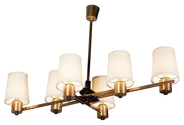 Six Light Bronze Chandelier