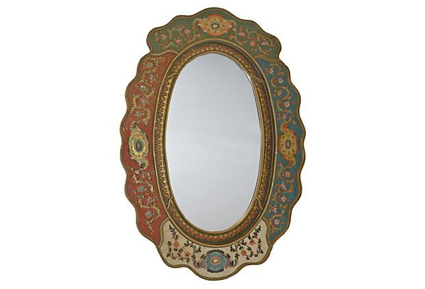 Mixed Medallions Scalloped Mirror