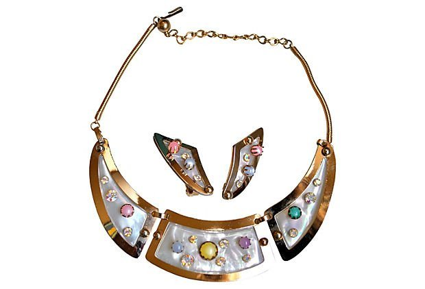Retro Mother-of-Pearl & Cabochon Set